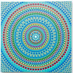 Turquoise red orange blue dot Mandala