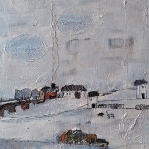 Rural winter landscape in mixed media