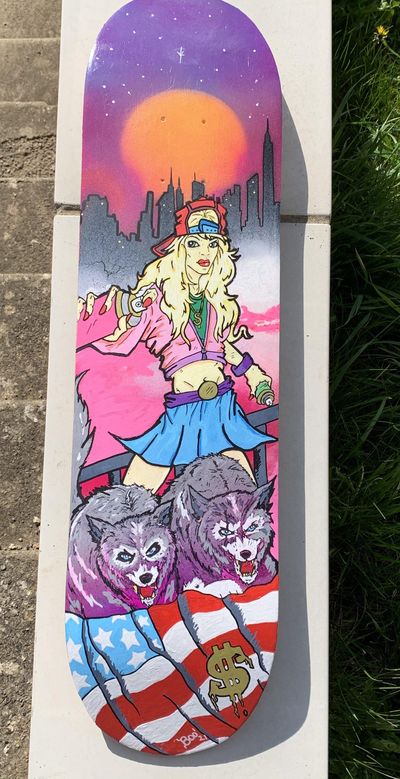 Spray Painting Girl on Skateboard Deck