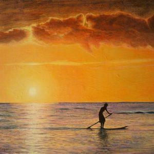 Hawaiian Surf Paddler sunset by Rhia Janta-Cooper